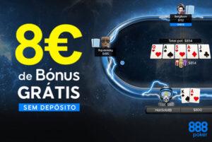 888 Poker 8€ Grátis sem Depósito + Bónus de 100% até 400€